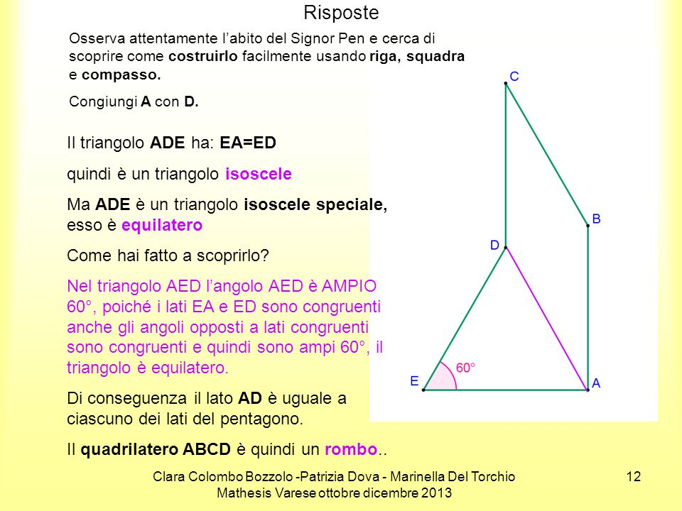 Risposte Il triangolo ADE ha: EA=ED quindi è un triangolo isoscele