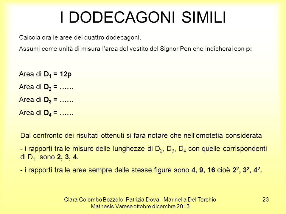 I DODECAGONI SIMILI Area di D1 = 12p Area di D2 = …… Area di D3 = ……