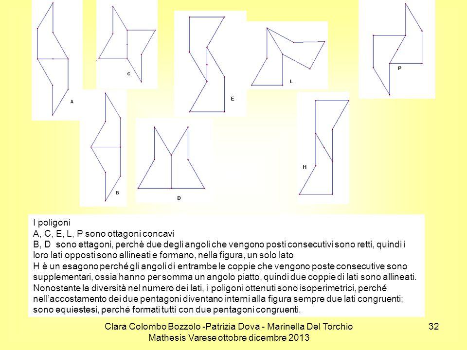 I poligoni A, C, E, L, P sono ottagoni concavi.
