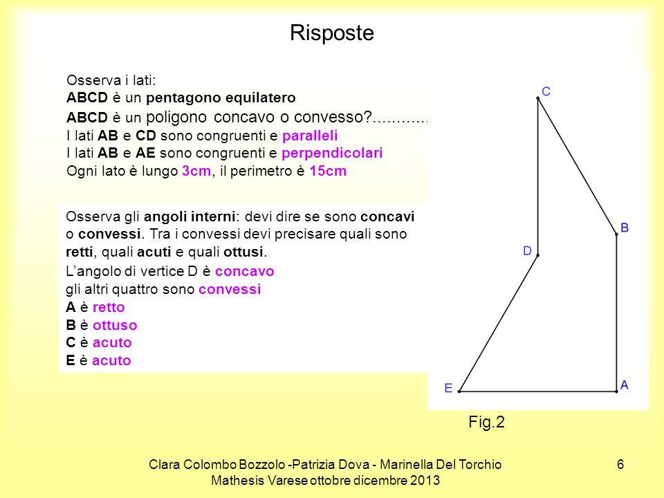 Risposte Fig.2 Osserva i lati: ABCD è un pentagono equilatero