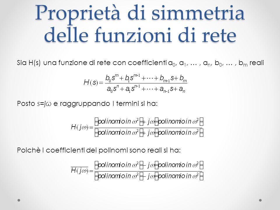 Proprietà di simmetria delle funzioni di rete