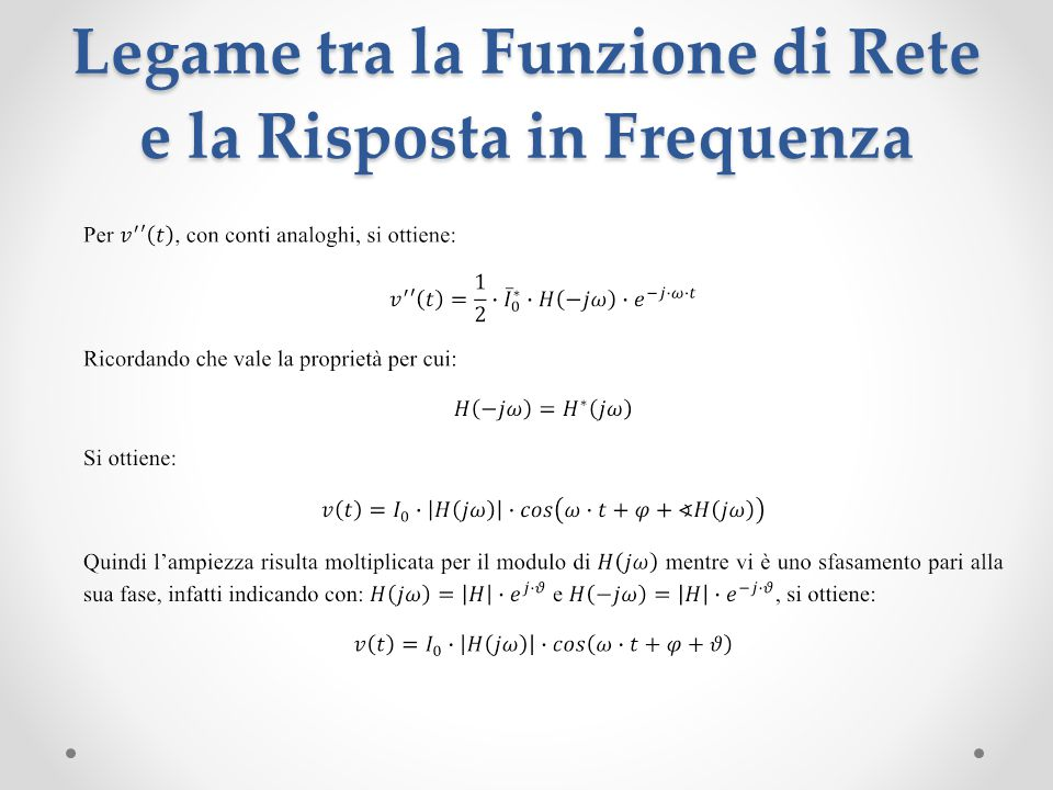 Legame tra la Funzione di Rete e la Risposta in Frequenza