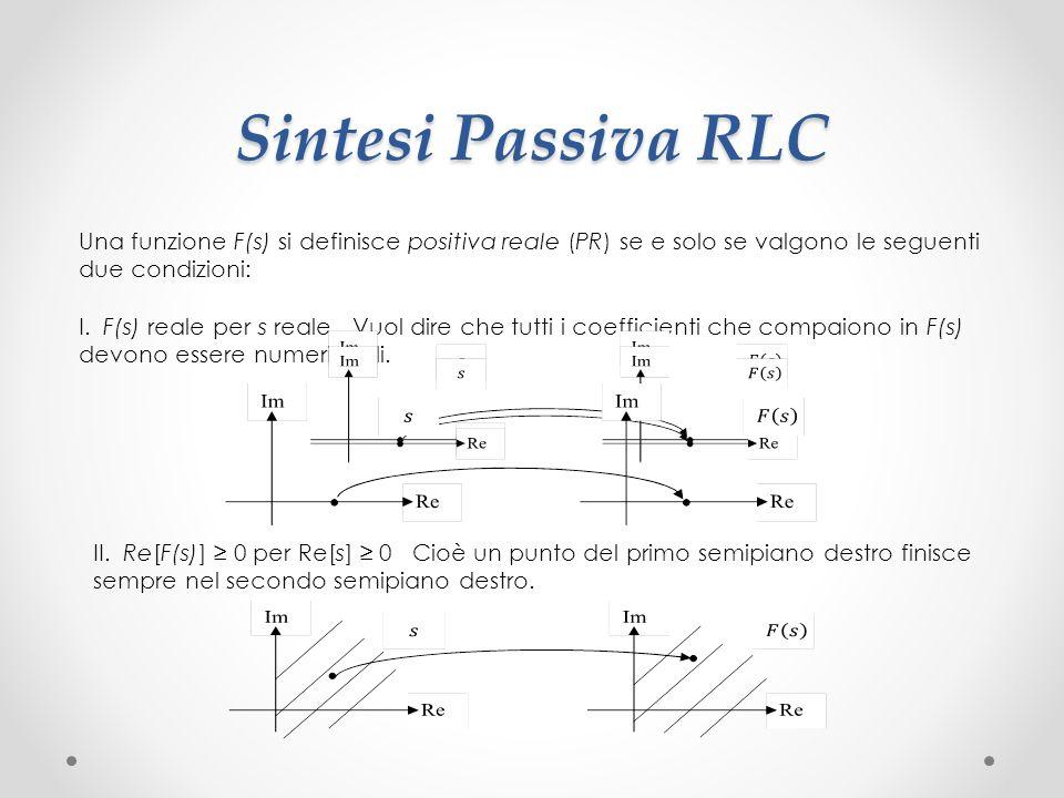 Sintesi Passiva RLC Una funzione F(s) si definisce positiva reale (PR) se e solo se valgono le seguenti due condizioni: