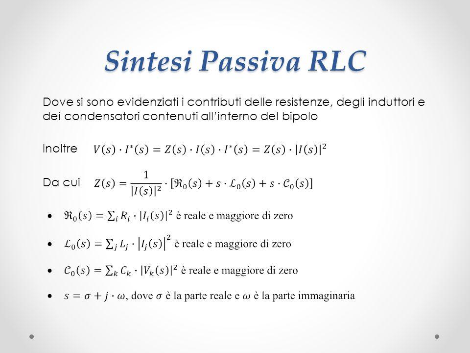 Sintesi Passiva RLC Dove si sono evidenziati i contributi delle resistenze, degli induttori e dei condensatori contenuti all'interno del bipolo.