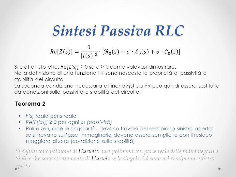 Sintesi Passiva RLC Teorema 2