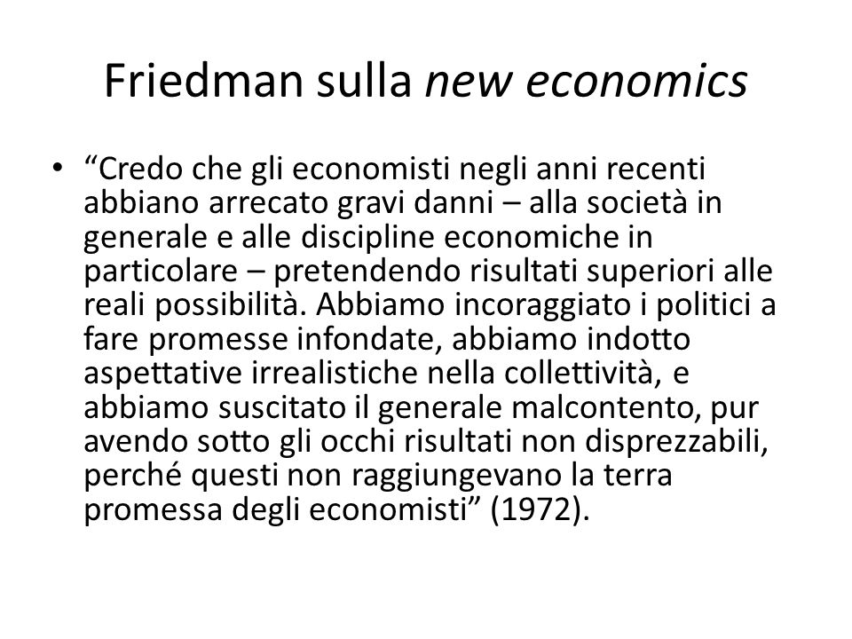 Friedman sulla new economics