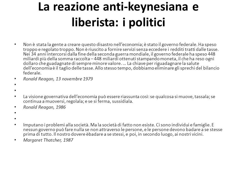 La reazione anti-keynesiana e liberista: i politici