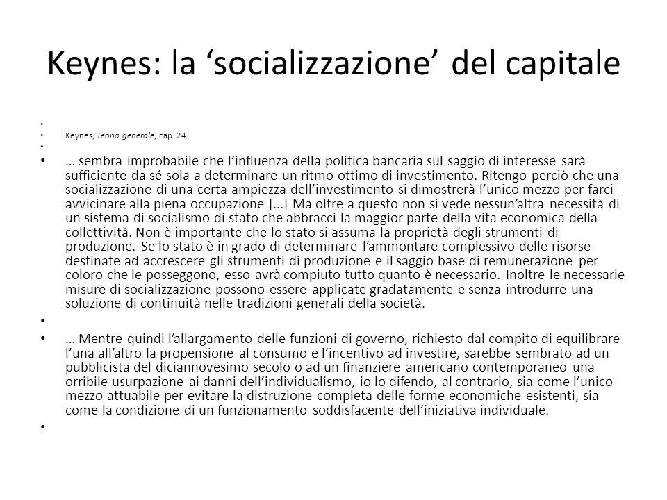 Keynes: la 'socializzazione' del capitale