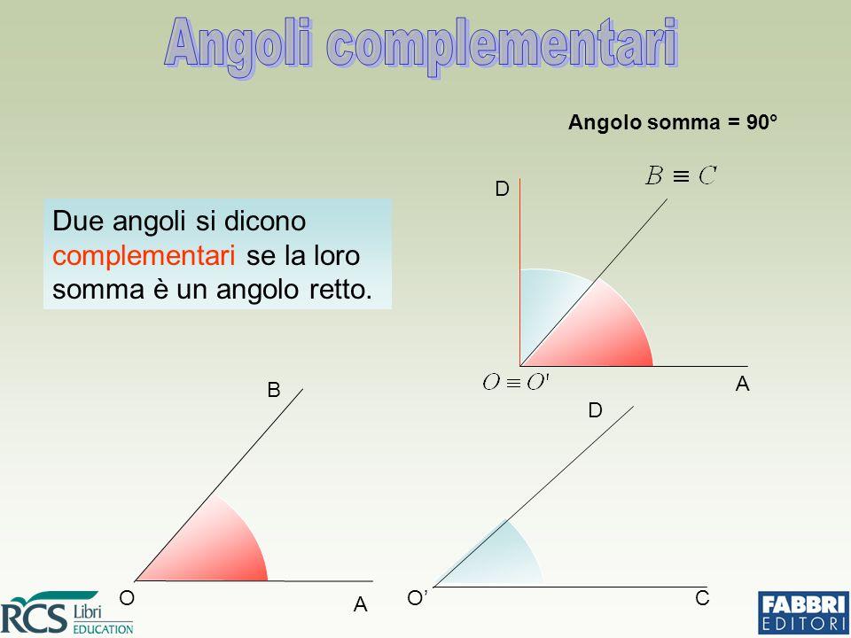 Angoli complementari Angolo somma = 90° D. A. Due angoli si dicono complementari se la loro somma è un angolo retto.