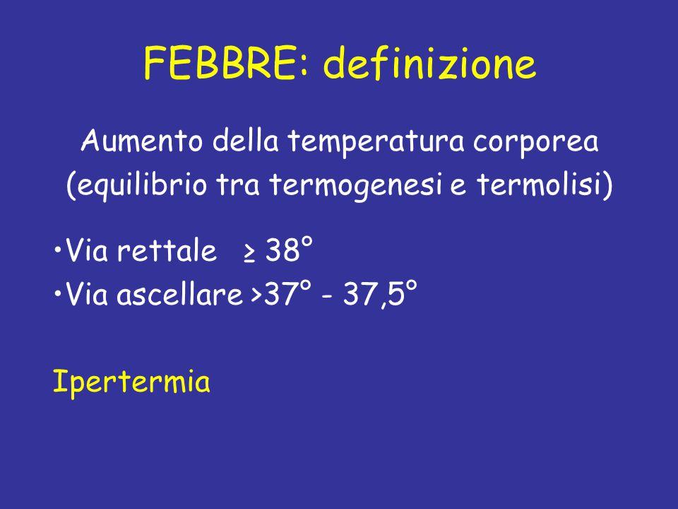 FEBBRE: definizione Aumento della temperatura corporea