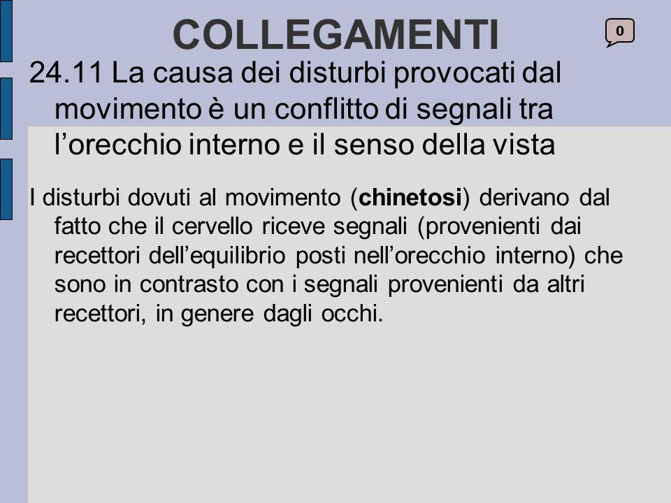 COLLEGAMENTI 24.11 La causa dei disturbi provocati dal movimento è un conflitto di segnali tra l'orecchio interno e il senso della vista.