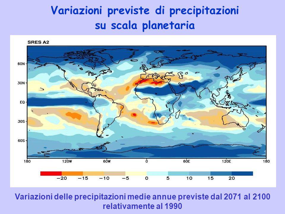 Variazioni previste di precipitazioni su scala planetaria