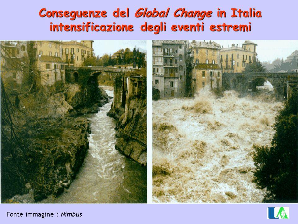 Conseguenze del Global Change in Italia intensificazione degli eventi estremi