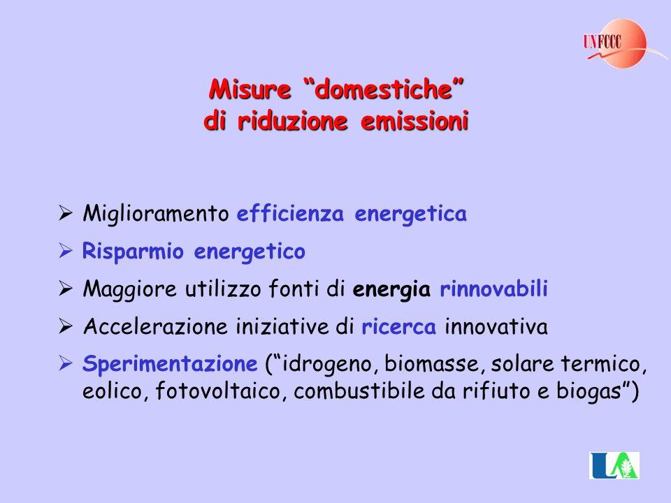 Misure domestiche di riduzione emissioni