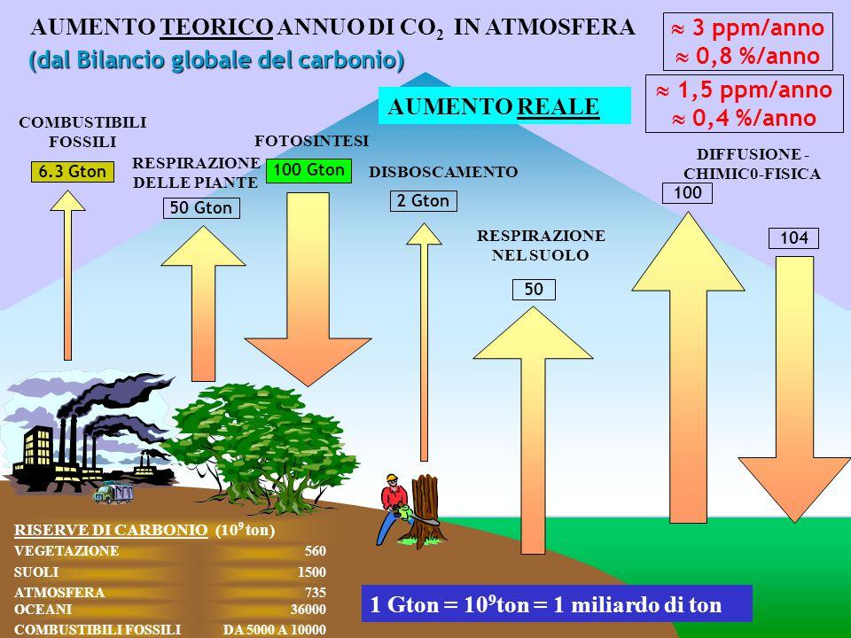 AUMENTO TEORICO ANNUO DI CO2 IN ATMOSFERA  3 ppm/anno  0,8 %/anno