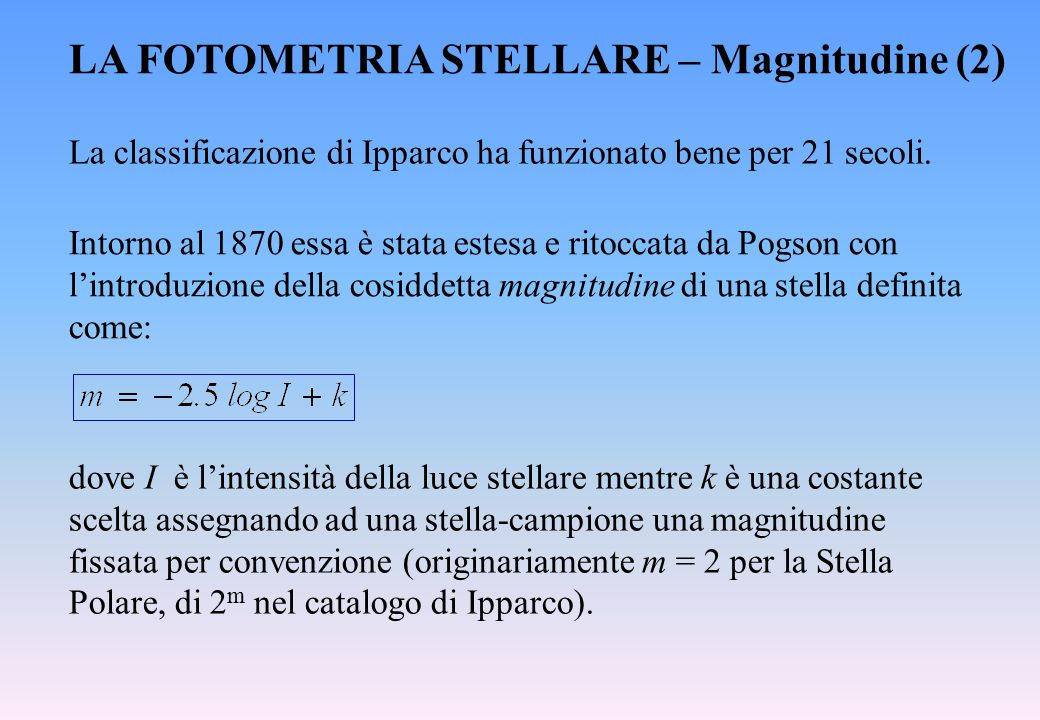 LA FOTOMETRIA STELLARE – Magnitudine (2)
