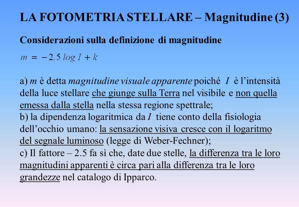 LA FOTOMETRIA STELLARE – Magnitudine (3)