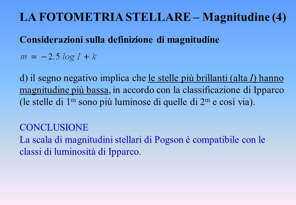 LA FOTOMETRIA STELLARE – Magnitudine (4)