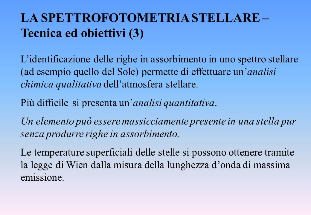 LA SPETTROFOTOMETRIA STELLARE – Tecnica ed obiettivi (3)