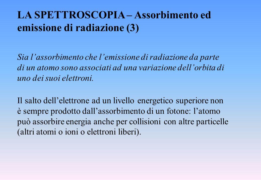 LA SPETTROSCOPIA – Assorbimento ed emissione di radiazione (3)