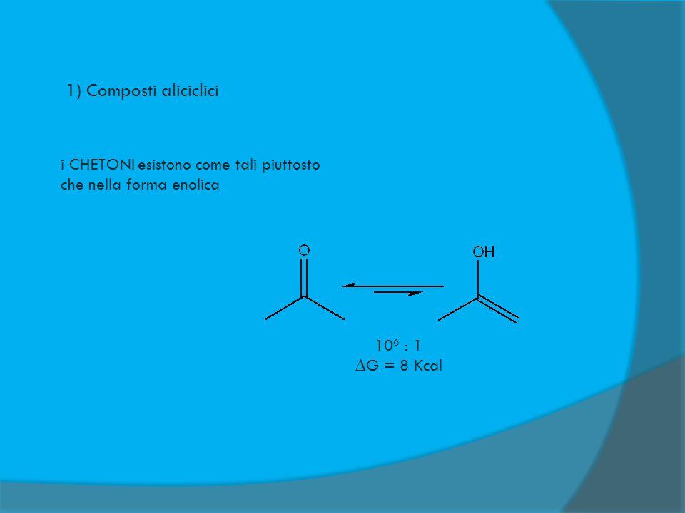 1) Composti aliciclici i CHETONI esistono come tali piuttosto che nella forma enolica.