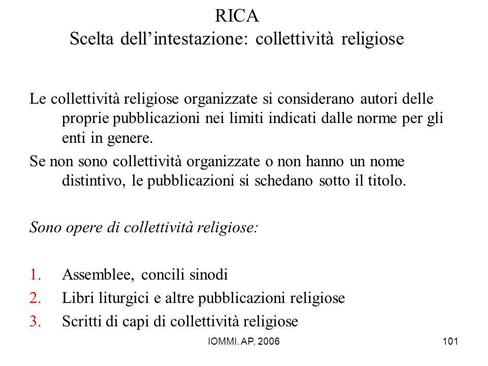 RICA Scelta dell'intestazione: collettività religiose