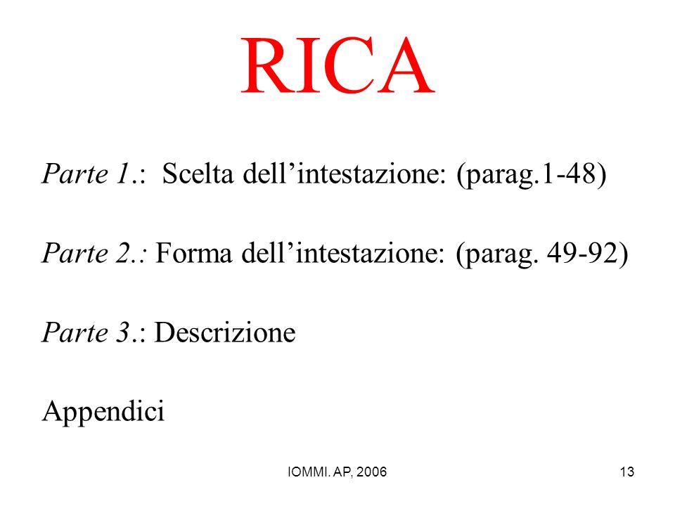 RICA Parte 1.: Scelta dell'intestazione: (parag.1-48)