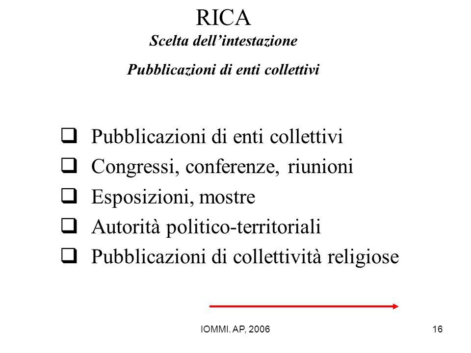 RICA Scelta dell'intestazione Pubblicazioni di enti collettivi