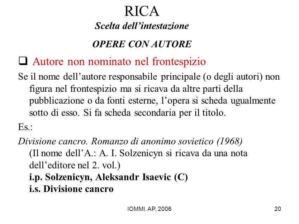 RICA Scelta dell'intestazione OPERE CON AUTORE