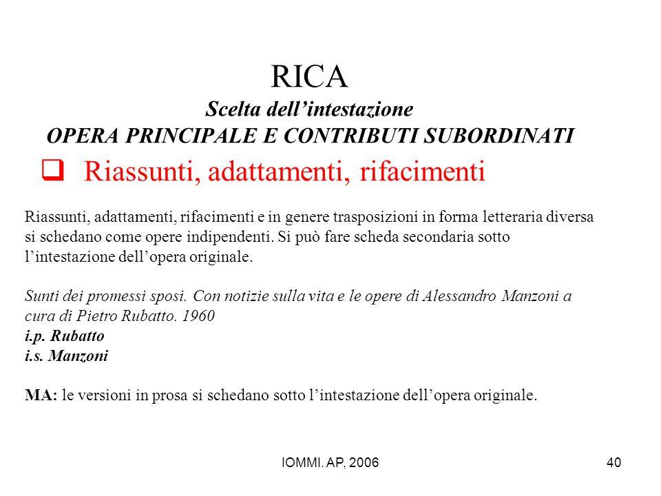 RICA Scelta dell'intestazione OPERA PRINCIPALE E CONTRIBUTI SUBORDINATI