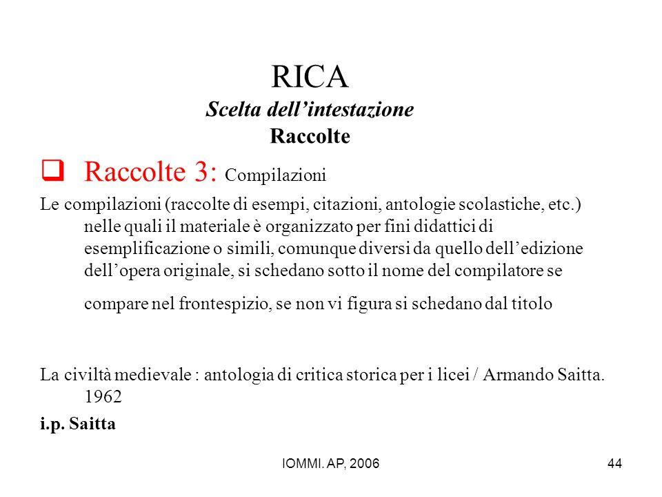 RICA Scelta dell'intestazione Raccolte