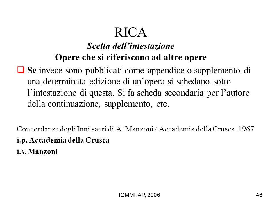 RICA Scelta dell'intestazione Opere che si riferiscono ad altre opere