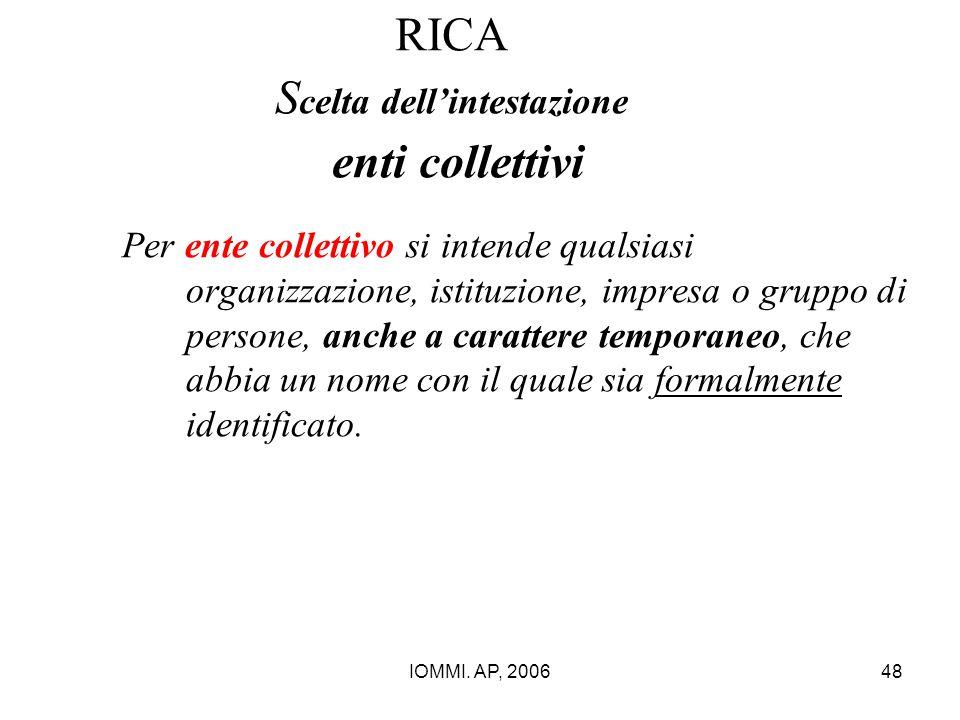 RICA Scelta dell'intestazione enti collettivi