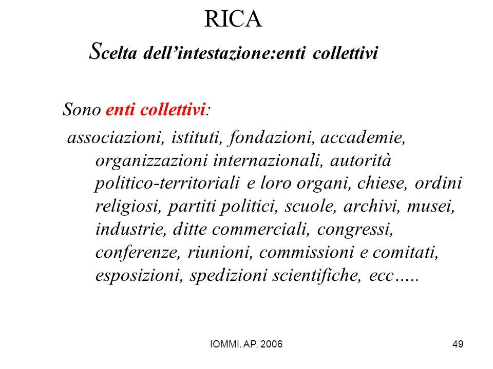 RICA Scelta dell'intestazione:enti collettivi