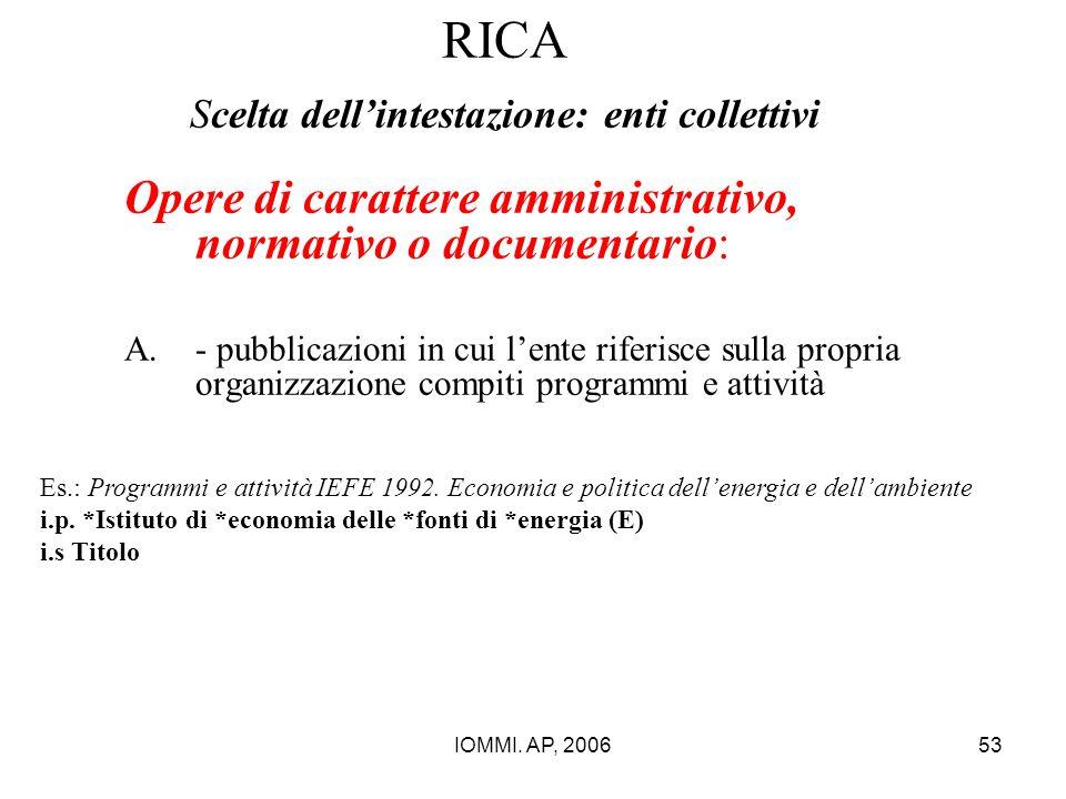 RICA Scelta dell'intestazione: enti collettivi