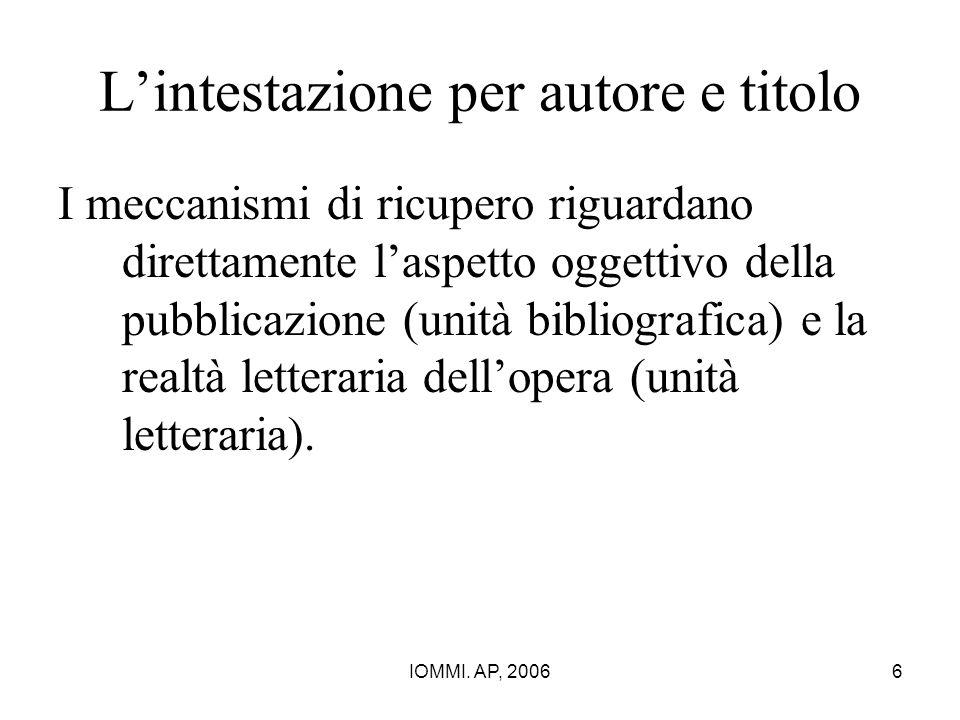 L'intestazione per autore e titolo