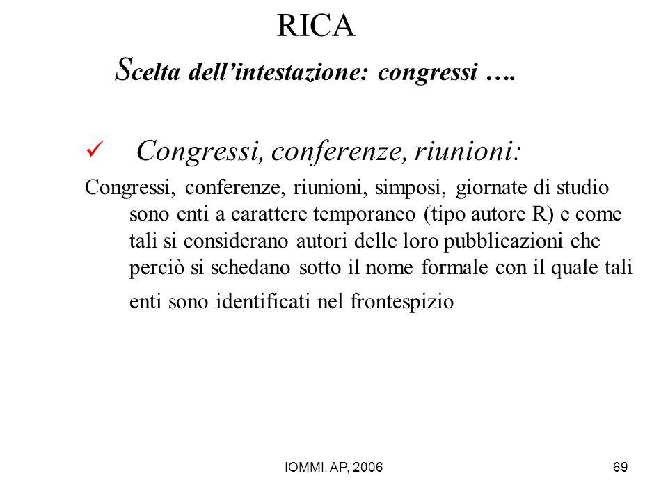 RICA Scelta dell'intestazione: congressi ….
