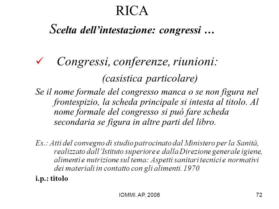 RICA Scelta dell'intestazione: congressi …