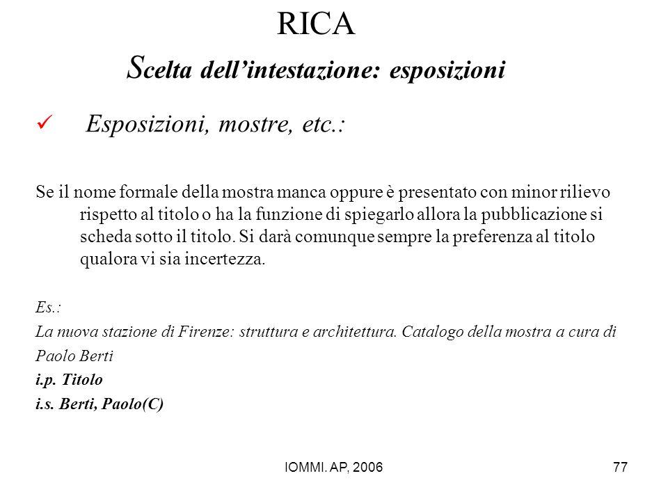 RICA Scelta dell'intestazione: esposizioni