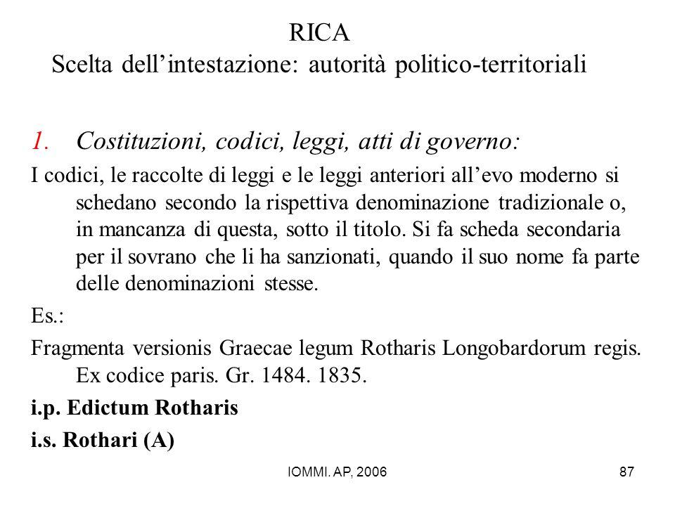 RICA Scelta dell'intestazione: autorità politico-territoriali