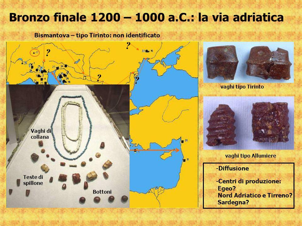 Bronzo finale 1200 – 1000 a.C.: la via adriatica