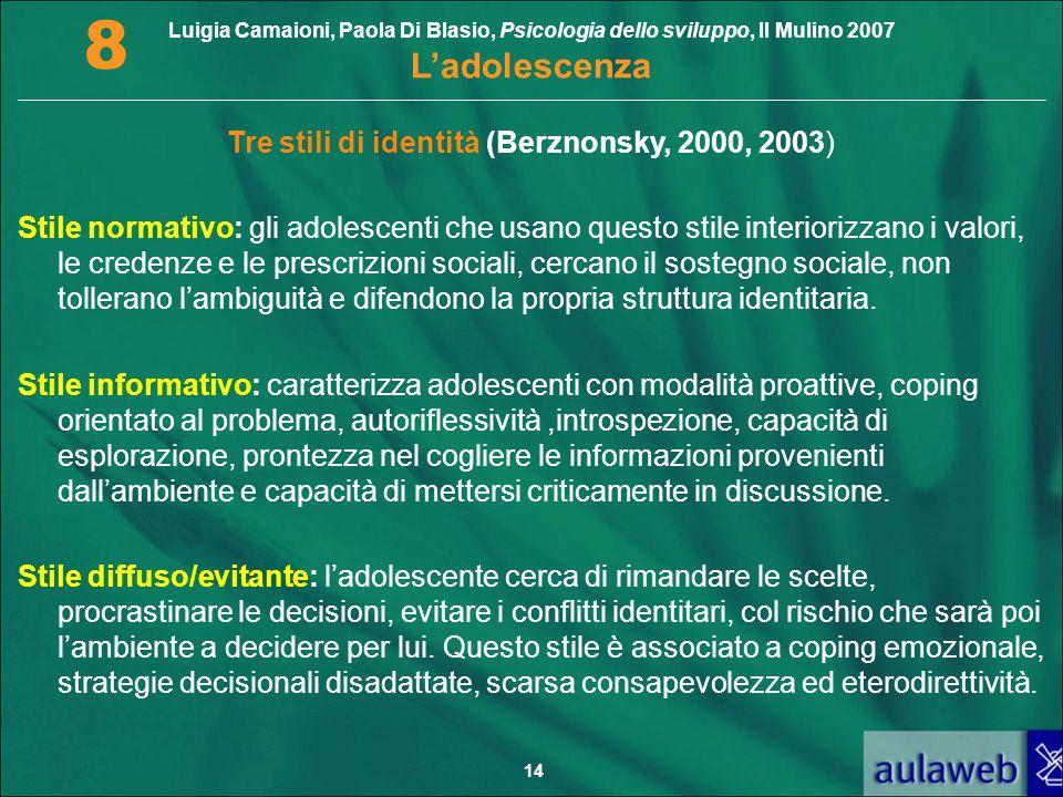Tre stili di identità (Berznonsky, 2000, 2003)