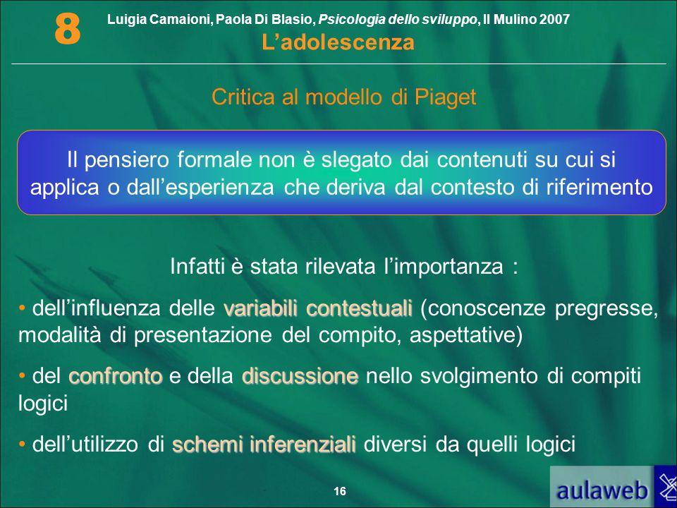 Critica al modello di Piaget