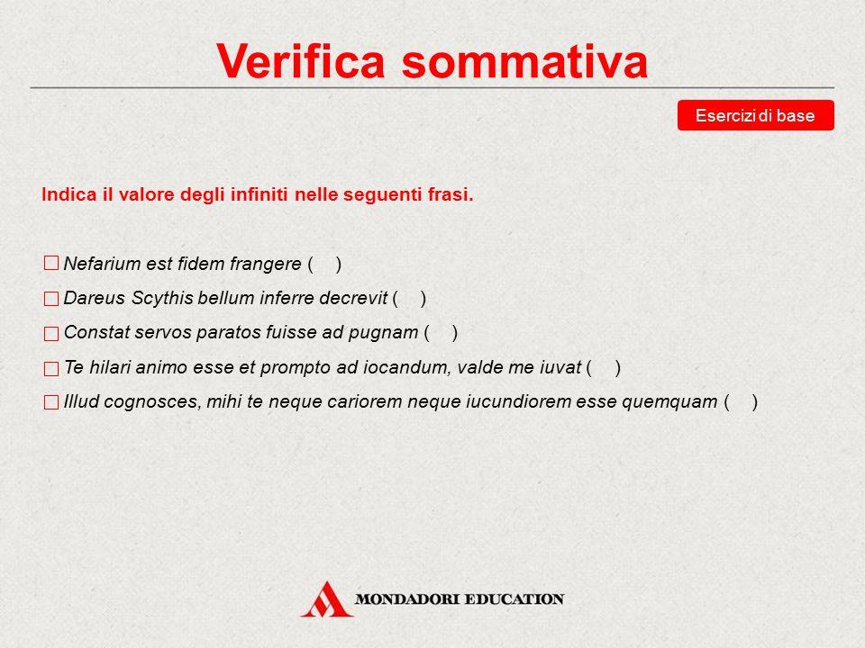 Verifica sommativa Esercizi di base. Indica il valore degli infiniti nelle seguenti frasi. Nefarium est fidem frangere ( )