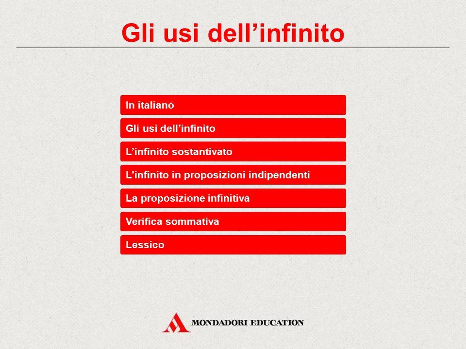 Gli usi dell'infinito In italiano Gli usi dell'infinito