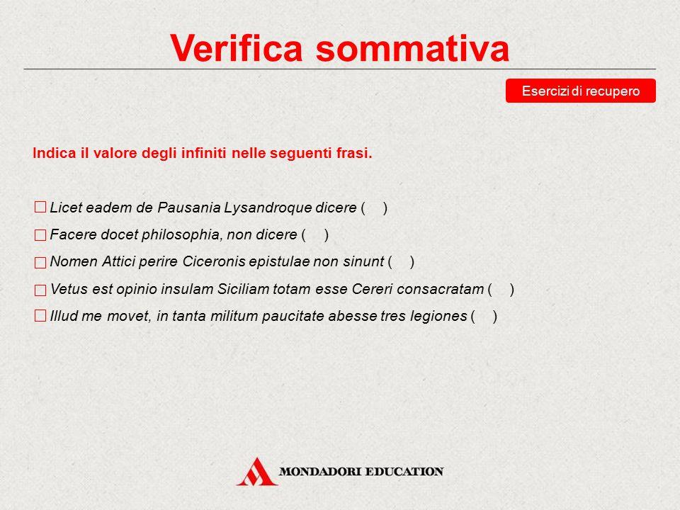 Verifica sommativa Esercizi di recupero. Indica il valore degli infiniti nelle seguenti frasi. Licet eadem de Pausania Lysandroque dicere ( )