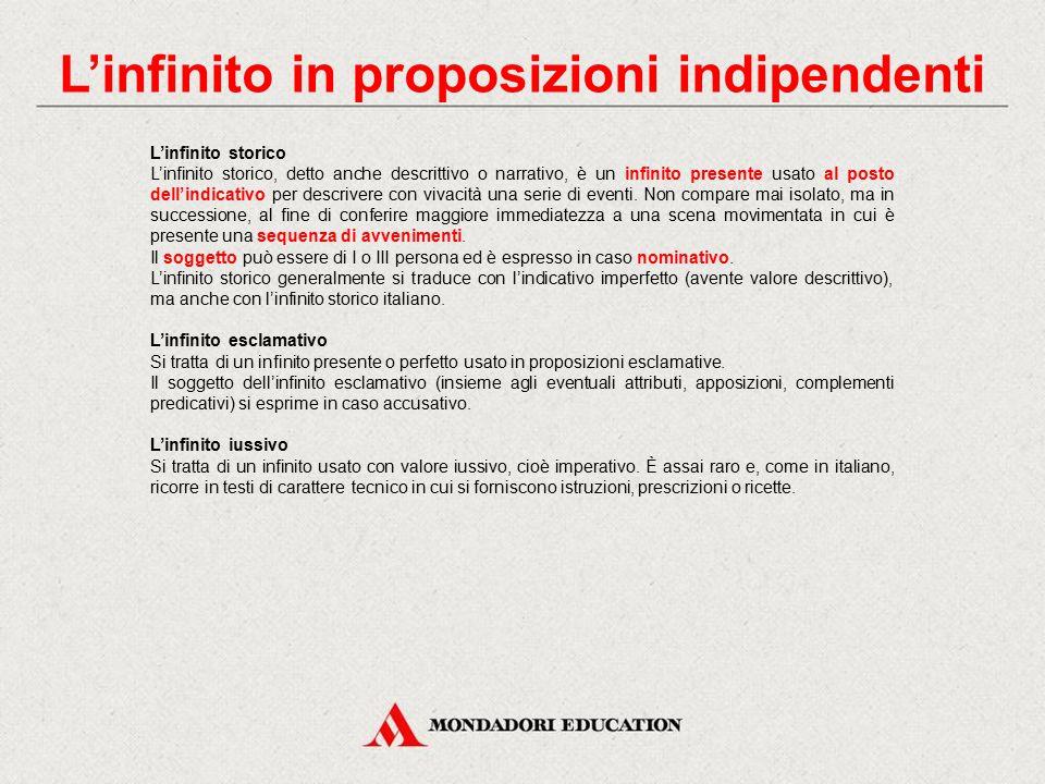 L'infinito in proposizioni indipendenti