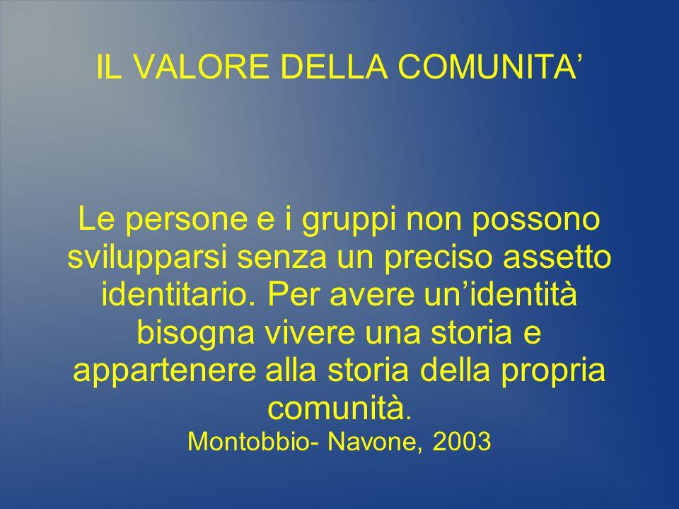 IL VALORE DELLA COMUNITA' Le persone e i gruppi non possono svilupparsi senza un preciso assetto identitario.