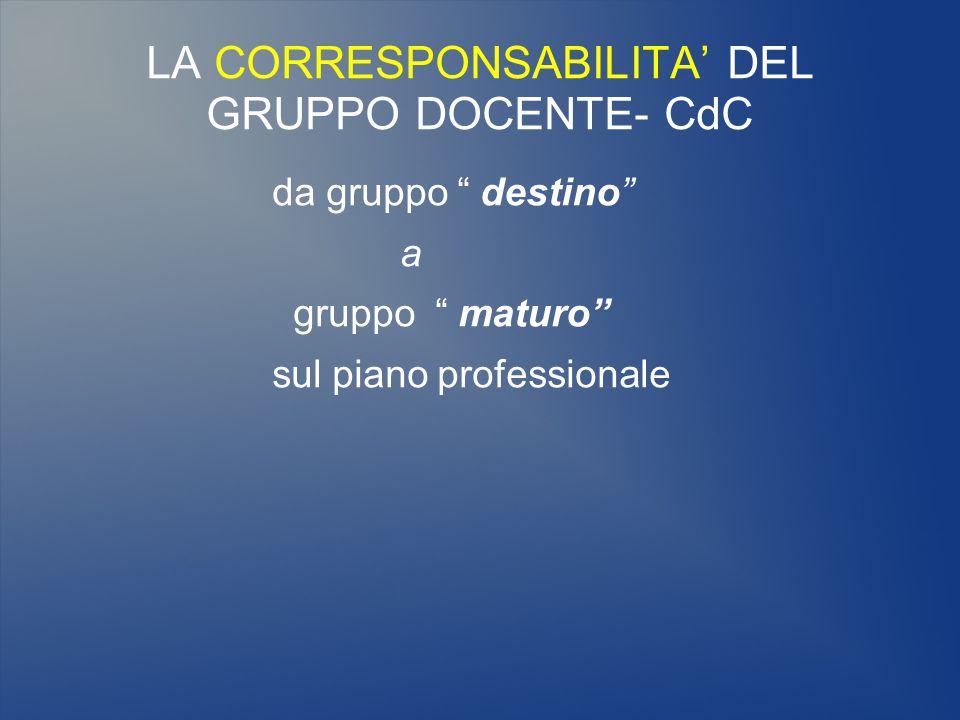 LA CORRESPONSABILITA' DEL GRUPPO DOCENTE- CdC