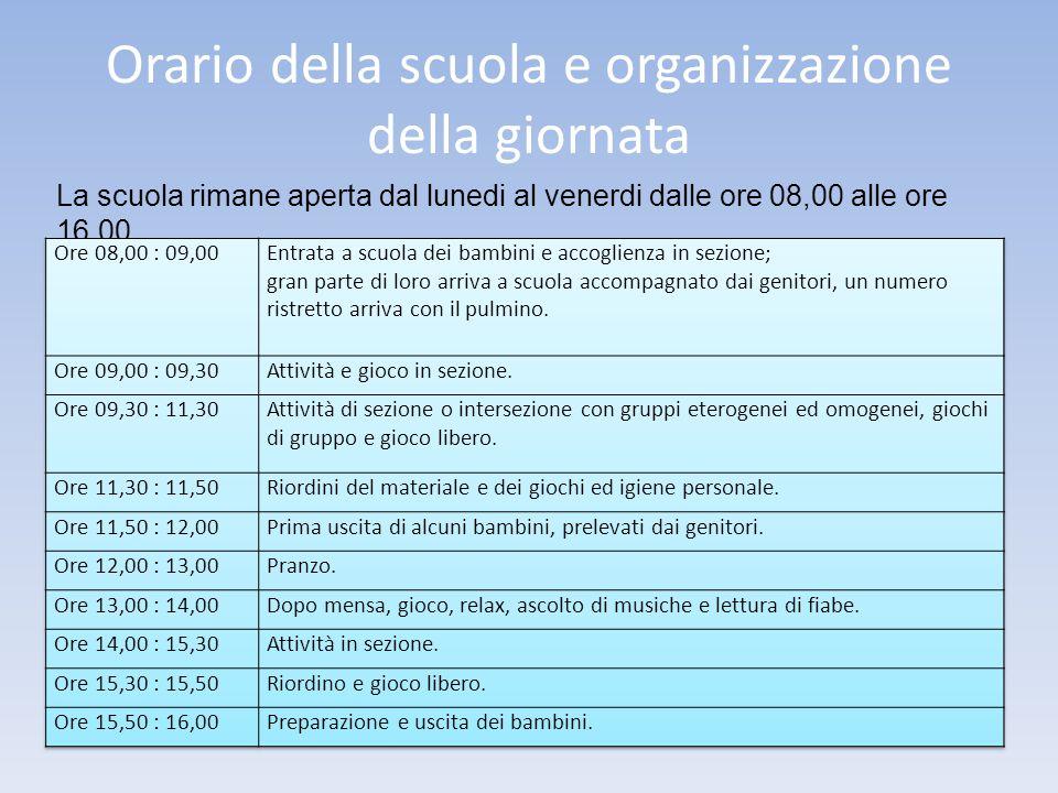 Orario della scuola e organizzazione della giornata
